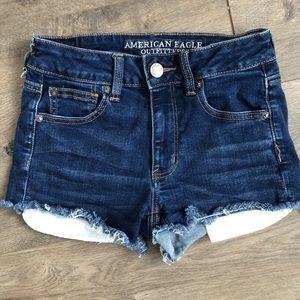 AEO Hi-Rise Shortie Frayed Shorts